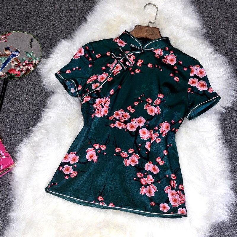 Slim Vintage Manches Vert Style Chemises À Chinois Taille Col Naturelle De Fleur Soie M Imprimer Femelle Tops 3xl Courtes Mandarin Blouse 0f086