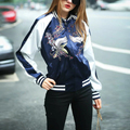 Осень Женщины Основные Пальто Casacos Длинным Рукавом Camperas Mujer Abrigo Вышивка Мода Пиджаки Куртка Бомбардировщика LBMA8235