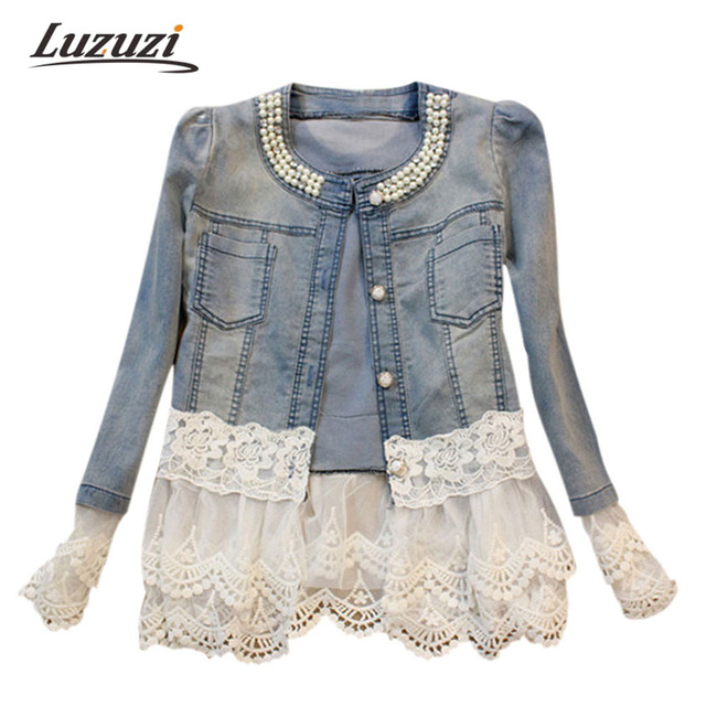 Women Denim Jacket Long Sleeve Lace Jeans Jackets Women Oversized Jean Coat Female Outwear Abrigos Mujer jaqueta feminina WS112
