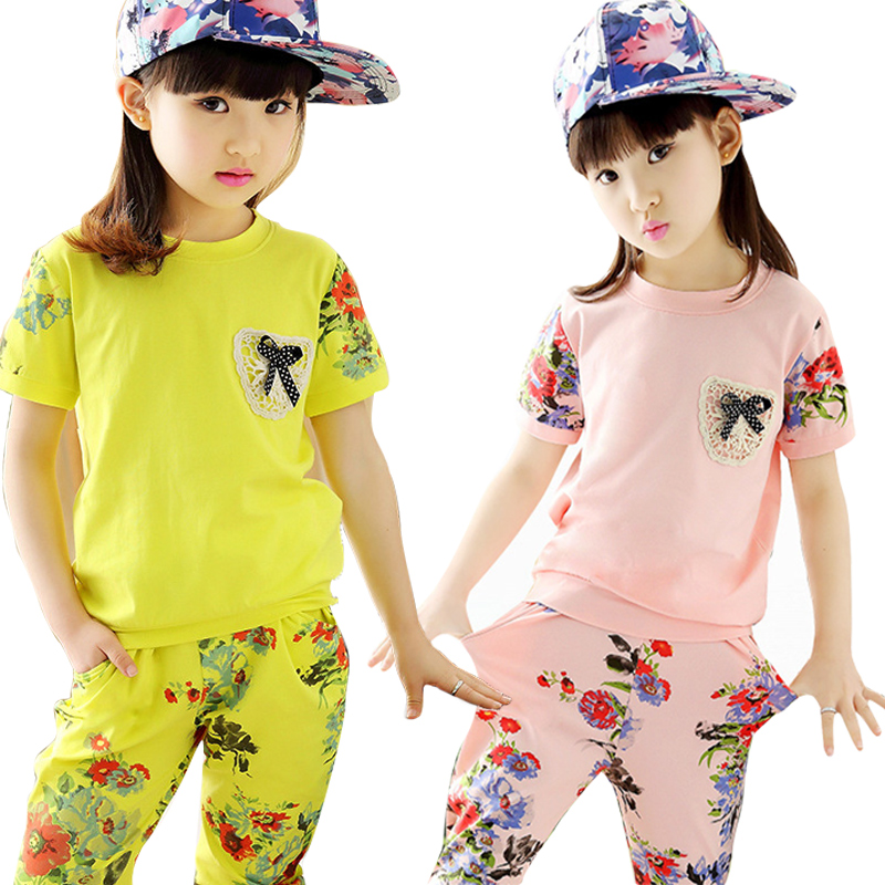 2016 Summer Children Girls Clothing Set Fashion Floral T shirt + Sports Pants 2pcs Suit Baby Girls Short Sleeve Tops Clothes Set family fashion summer tops 2015 clothers short sleeve t shirt stripe navy style shirt clothes for mother dad and children