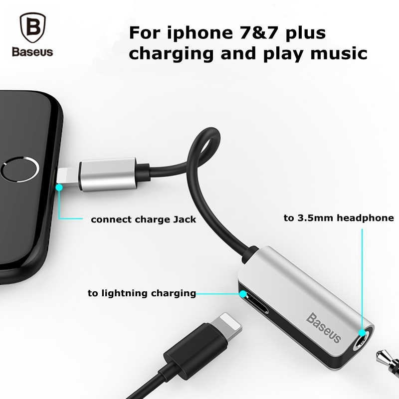 baseus audio cable adapter for iphone 7 8 plus x 10. Black Bedroom Furniture Sets. Home Design Ideas