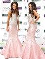 Encantadora Sereia Rosa Celebrity Dresses 2017 Querida Fora do Ombro de Cetim Beading New Arrival Sparkly Vestidos xq96