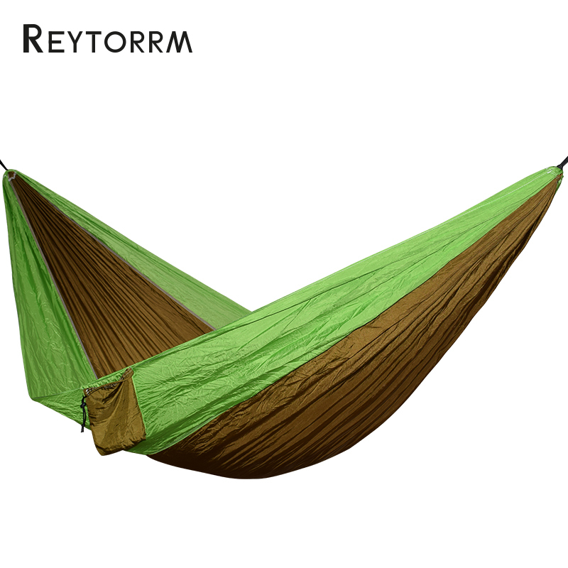 Super Strength Folding Nylon Hammock Hanging Swing Hamak Beach Camping Patio Sleeping Tree Bed With 2 Strap 2 Carabiner