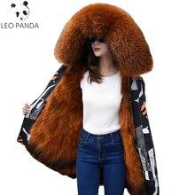 Real Fox Fur coat Plus Size M-3XL 2018 New Winter Women Fashionable Raccoon fur collar Thicken Warm Long Hooded Parka C 606