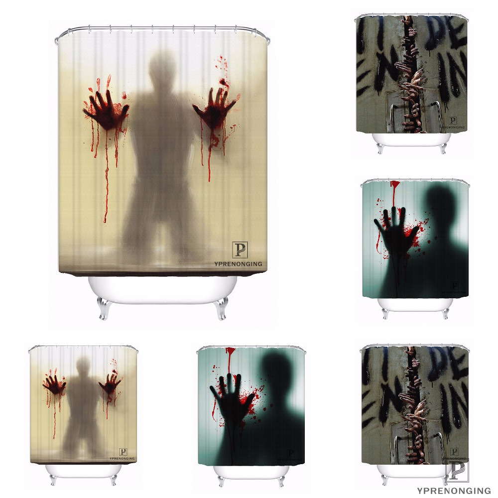 Custom Hand Blood Waterproof Shower Curtain Home Bath Bathroom s Hooks Polyester Fabric Multi Sizes#180421-Sina-05