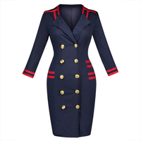 Sisjuly Autumn Dress Women Blue Sexy Club Double Breasted Color Block Knee Length Fall Dress Straight