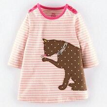 Bébé fille vêtements Bande à manches longues robe de chat motif vêtements pour enfants Pur coton enfants usure mignon robes pour les filles