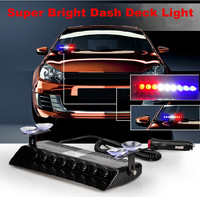 LED Blue Red Visor Dashboard Emergency Strobe Car Warning Lights Windshield
