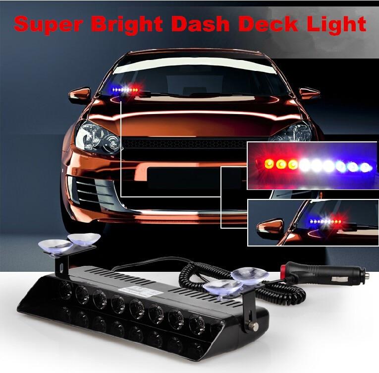 LED Azul Rojo Visera Tablero Estroboscópico de emergencia Luces de - Luces del coche