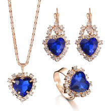10 Colors Jewelry Sets for Women Red/Blue Birthstone Charm Jewelry Women Earrings / Pendant / Necklace / Ring Jewelry Sets(China)