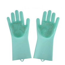 Dropshipping Magic Reusable Silicone Gloves Cleaning Brush Scrubber Gl