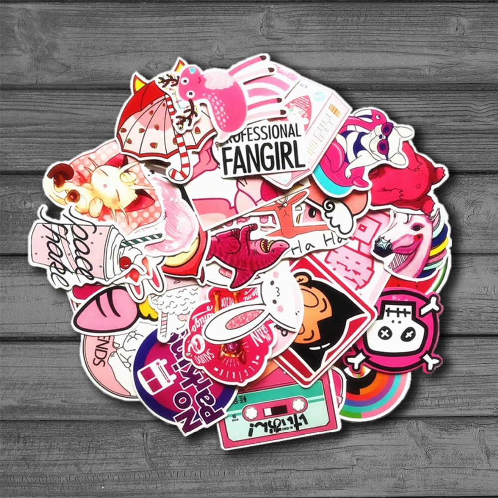 50 pcs/pack PVC Ins Hot Pink Girls Fun Sticker Toys The Luggage Stickers For Moto Car & Suitcase Cool Fashion Laptop stickers
