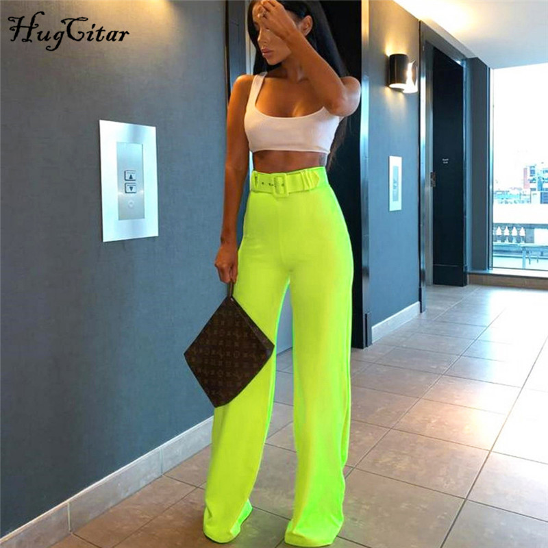 Hugcitar high waist   wide     leg     pants   2019 summer women fashion solid streetwear trouses