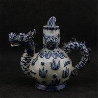 #5 Zabytkowe stare Chiese porcelanowy czajniczek, Rzeźba niebieskie butelki, ręcznie rzemiosła, Dekoracji Domu, kolekcja & ozdoby, darmowa wysyłka