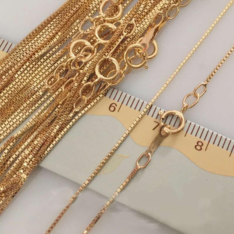 0,85mm 14 karat Gold Eingereicht Ketten Halskette Hohe Qualität Für Frauen Geschenk 16/18 Zoll Schmuck Machen Zubehör