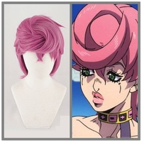 New Trish Una Cosplay Wig Anime JOJO Bizarre Adventure Golden Wind Cosplay Wig Trish Una Hair Halloween Costume Wigs +Cap+Track