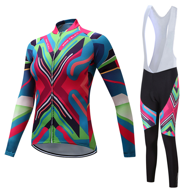 2019 mulher roupas de ciclismo calças JARDINEIRAS terno desgaste de manga Longa bicicleta kit de roupas Outono conjunto camisa bicicleta mtb esportes Ao Ar Livre vestido