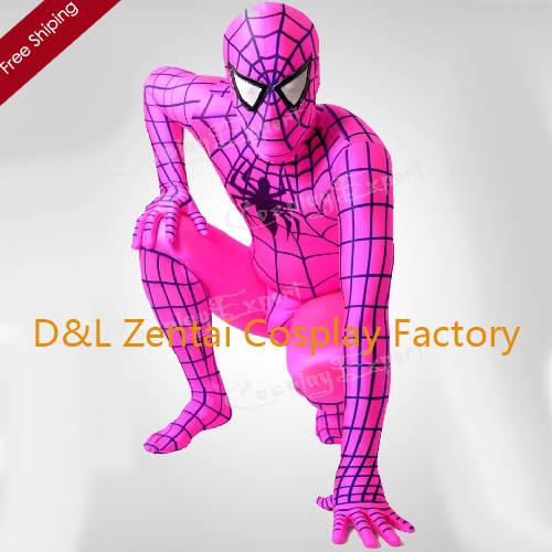 DHL de envío libre barato Rosa completa Cuerpo lycra spandex Spiderman Zentai  traje Super Hero traje b70f954e02d