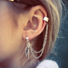 Chic Punk Gold Silver Dangle Ear Cuff Clip Stud Wrap Earring with Chain for Women chic feather shape cuff ring for women