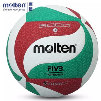Oryginalny stopiony V5M5000 piłka do siatkówki oficjalny rozmiar 5 siatkówka z igłą do profesjonalnego treningu piłki ręcznej tanie i dobre opinie Molten Kryty piłka treningowa VL-001-004-V5M5000 Molten V5M 5000 Volleyball Ball Butyl Bladder Thailand Laminated Flistatec Flight Stability Technology Increased Visibility
