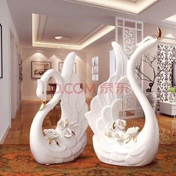 2pc/lot trace a design in gold Swan Figurine decoration mini fairy garden animals statue miniature Home Desk ornaments  craft TN