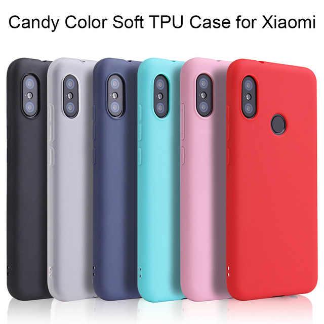 Permen Warna Matte Case untuk Xiao Mi Mi 8 Lite A2 A1 6 6X Pocophone F1 Pocophone 3 Mi X3 mi 8 untuk Merah Mi Note 5 6 Pro 6A 5 Plus 4X TPU Cover