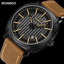 Мужские кварцевые наручные часы с кожаным ремешком датой