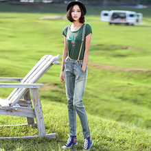 LIEBO 2016 Summer New Arrival Fashion Splice Buttons Fly Placket Bib Overall Light Blue Denim Straight Long Pants Women Trousers