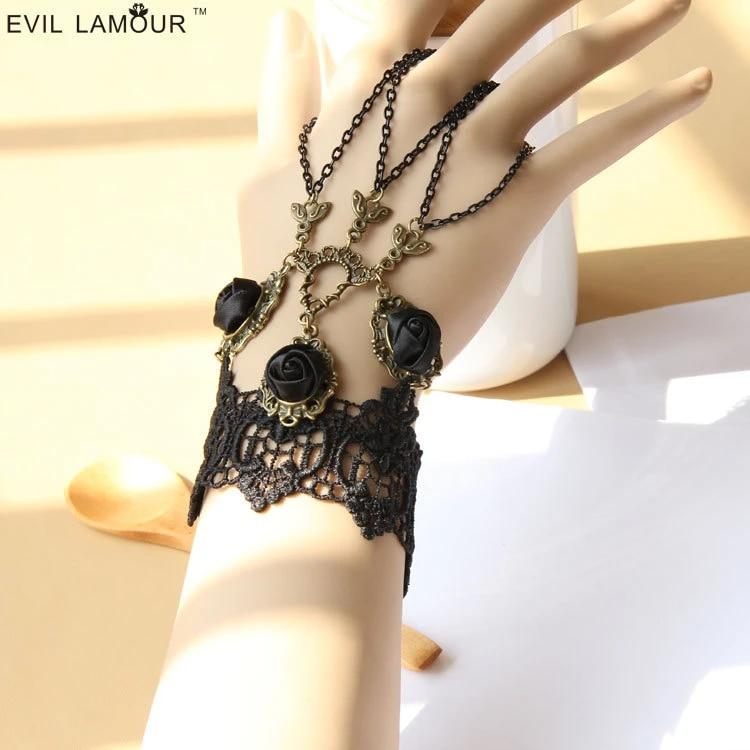 Rose Bracelet  Lace Bracelet  Renaissance wristcuff  Embroidered Bracelet  Mori Girl  Lolita  Gothic