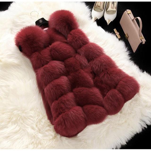 Autumn Winter Coat Women 2020 Faux Fur Coat Casual Slim Sleeveless Furry Faux Fox Fur Vest Winter Jacket Women casaco feminino