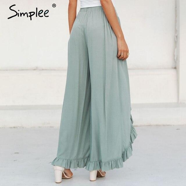 Simplee Sexy ruffles casual women pants capri High waist baggy split summer pants female Ladies wide leg trousers bottom 2019 5
