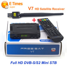FTA receptor freesat v7 + 1 unid wifi usb sintonizador de DVB-S2 suppprt no apoyo newcamd cccam europa iks sks dvb-s2 hd receptor de satélite