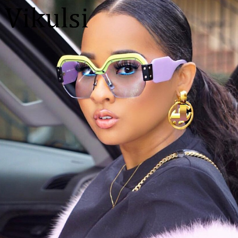 все цены на Sexy Rimless Oversized Sunglasses Women Vintage 2018 Red Pink Luxury Brand Sun Glasses For Female Rivet Big Frame Male Shades