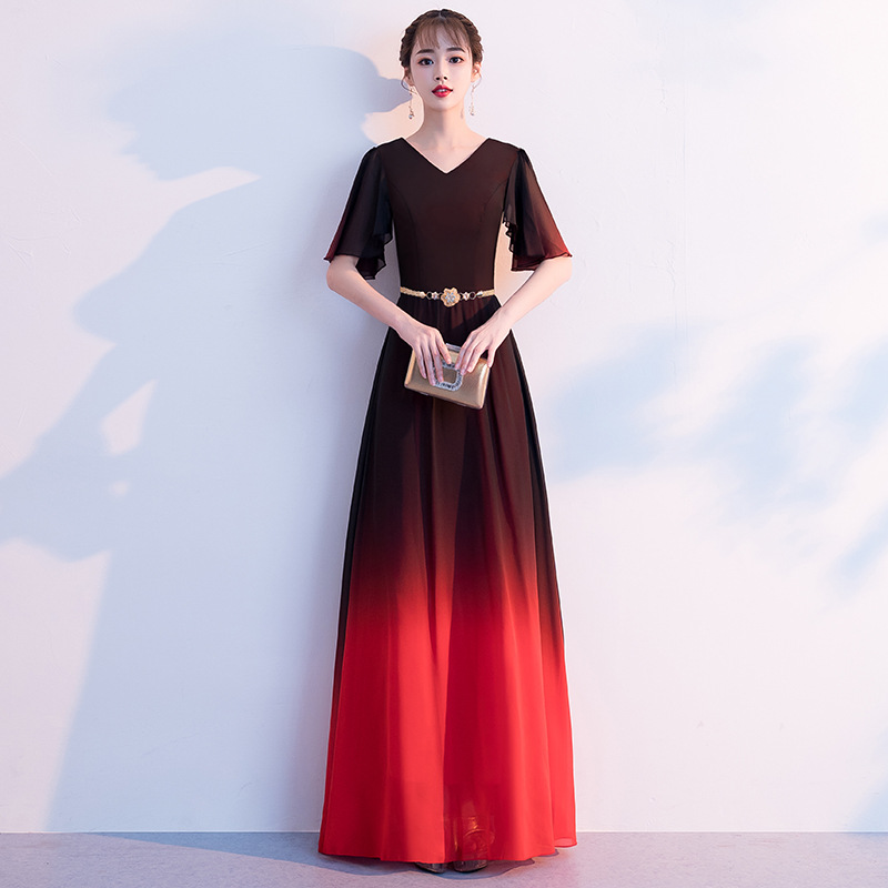 Beauty-Emily Elegant Long Chiffon   Evening     Dress   Party   Dress   V Neck Mid Sleeve Lace Open Back Ribbons Prom Gowns Vestido de noche