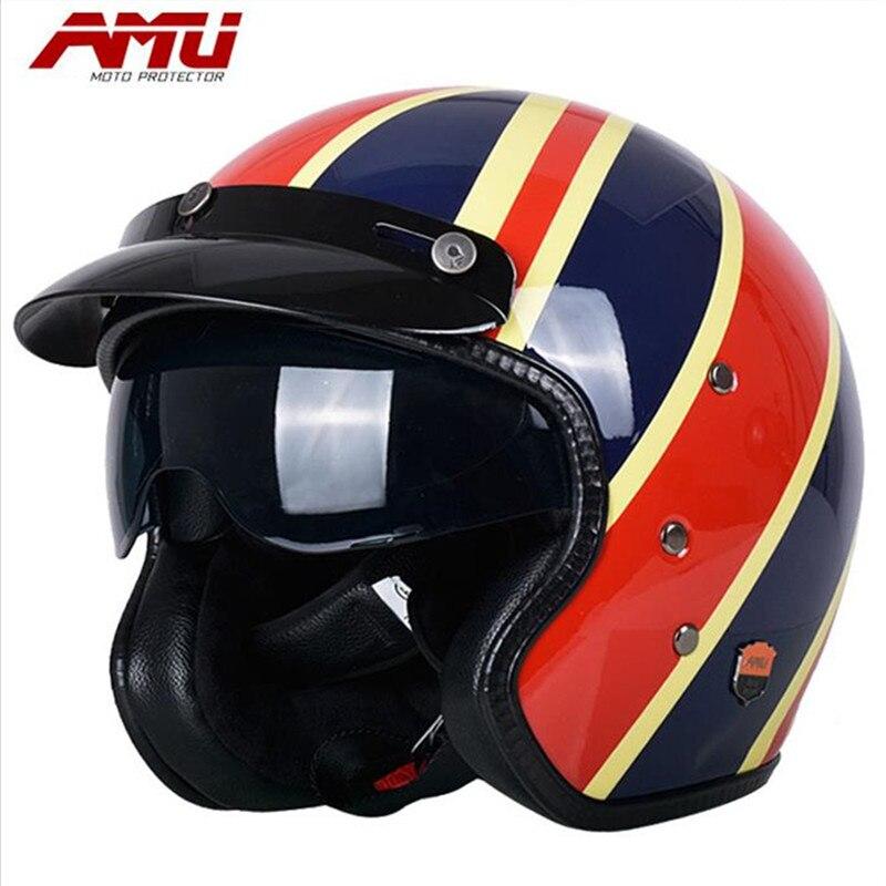 2017 AMU Motorcycle Helmet Glass Fiber Decoration Trumpet Four Seasons Universal Vintage Motorcycle Scooter