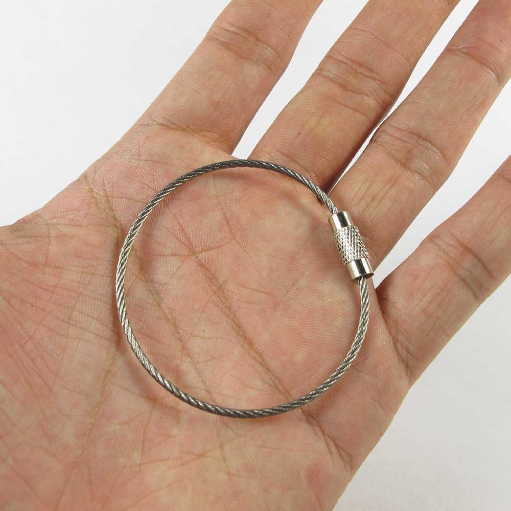 3 PCS anel chave Chaveiro Fio de Aço Inoxidável Corda Cabo Chave Titular Chaveiro Chave Anéis Da Cadeia de Mulheres Homens Jóias