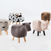 Animal Stool Series Upholstered Ride on Ottoman Footrest Stool with Vivid Adorable Animal Like Features Elephant Horse Sheep Cow