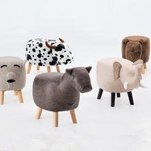 Animal Stool Series Upholstered Ride-on Ottoman Footrest Stool with Vivid Adorable Animal-Like Features Elephant Horse Sheep Cow(China)
