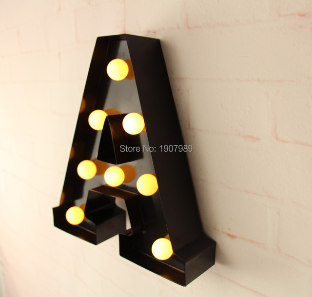 "Metal Letter Signs With Lights 9"" Metal Letters Light Led Alphabet Marquee Sign Light Up Vintage"