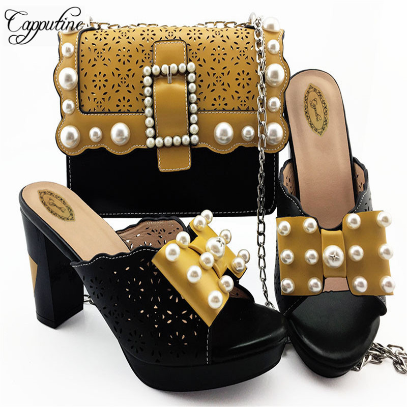 Capputine Unique Style Woman PU Leather Shoes And Bag Set Summer Slipper Pumps Shoes And MatchingBag Set For Wedding Size 38-42Capputine Unique Style Woman PU Leather Shoes And Bag Set Summer Slipper Pumps Shoes And MatchingBag Set For Wedding Size 38-42