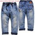 3905 buraco denim calças meninos novos do bebê calças de brim das crianças calças calça casual azul crianças calças roupas de criança macio