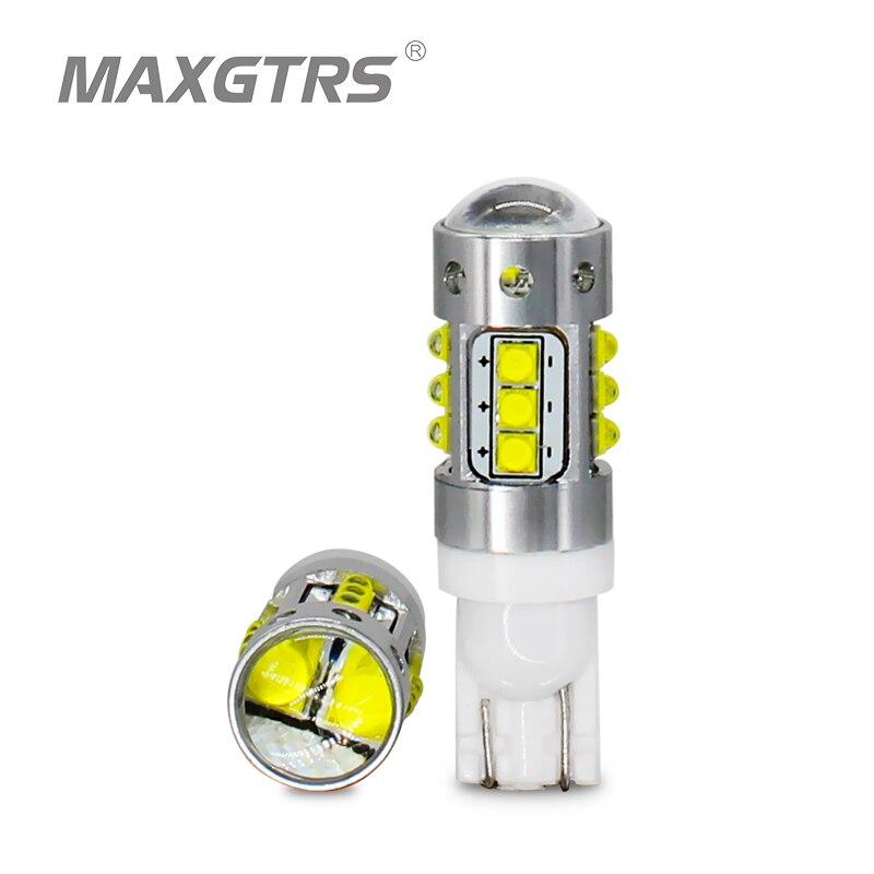 2x T10 194 168 W5W 70 W CREE Chip de Alta Potência Lâmpadas LED DRL Luz de Stop Cauda Do Carro Luz de Estacionamento de Backup Reversa Com Lente Do Projetor