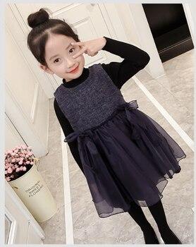 6769of Новая мода Новая летняя жилетка со шнуровкой платье для девочек принцессы вечерние платье для девочек на день рождения костюм для девоч...