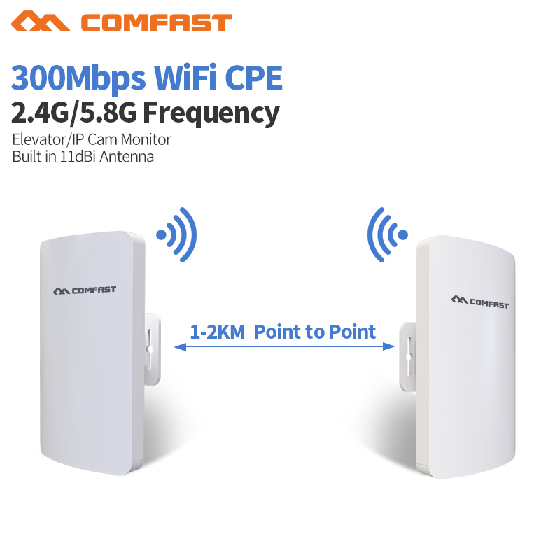 2pcs 1-2KM Long Range Outdoor CPE 2.4 / 5Ghz 300Mbps Wireless bridge wifi router wifi Repeater wi fi extender signal booster cpe comfast original indoor ap wi fi repeater 1200mbps wireless n router 2 4 5 8g wifi repeater bridge long range extender booster