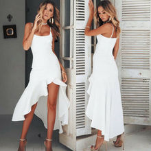 Summer Strap Dresses 2019 New Women Sexy Sleeveless Square Collar Skinny Irregular Ruffles Long Dress