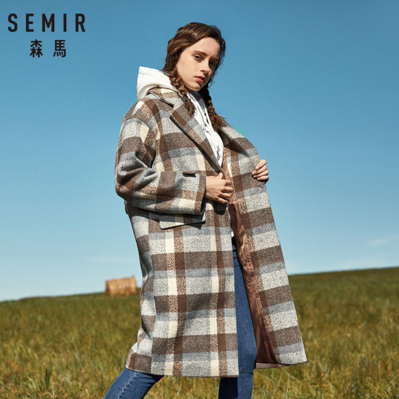 SEMIR Women Retro Plaid Wool Blend Overcoat Satin Lined Strap At Back Snap Closure Long Coat With Pocket Decorative Tab At Cuffs