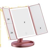 LED Touch Light Makeup Mirror Decorative Mirror Table Desktop Makeup 1X/2X/3X Magnifying Mirrors Vanity 3 Folding Adjustable