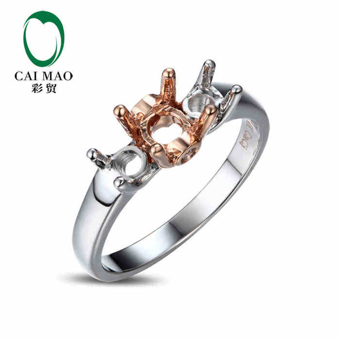CaiMao Three Stones Round cut Semi Mount Diamond Ring Settings 14k Rose Gold Gemstone Engagement Ring Fine Jewelry