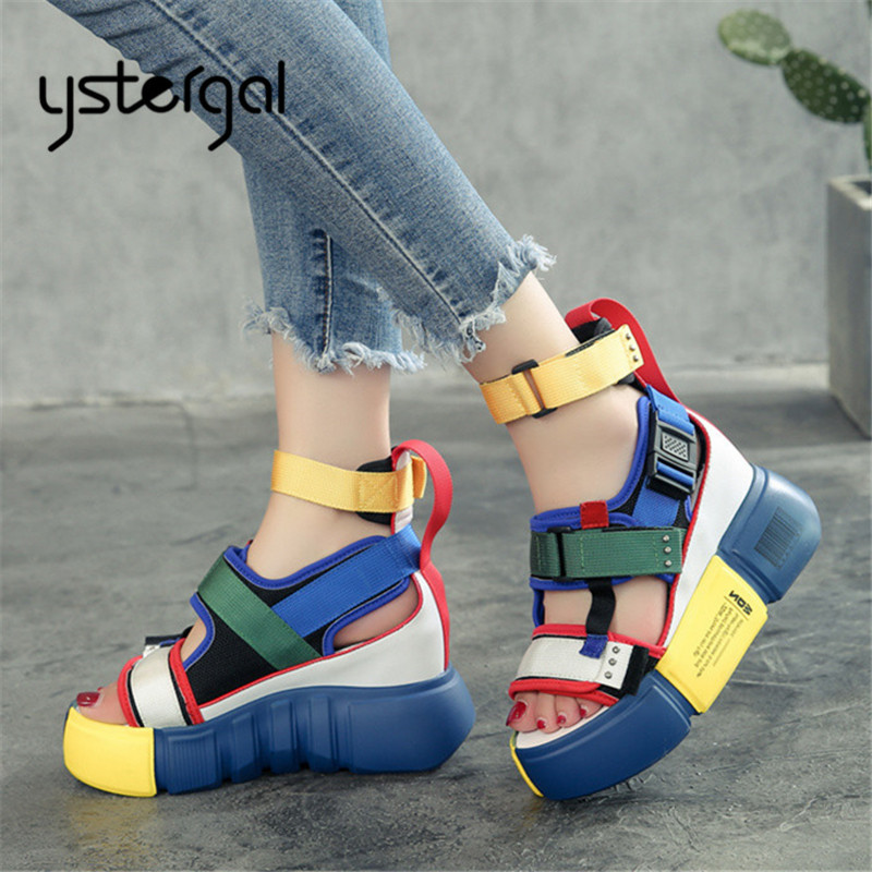 Ystergal Colorful Straps Women Sandals Casual Platform Shoes Woman Summer Height Increasing Sandal Gladiator Wedge SandaliasYstergal Colorful Straps Women Sandals Casual Platform Shoes Woman Summer Height Increasing Sandal Gladiator Wedge Sandalias