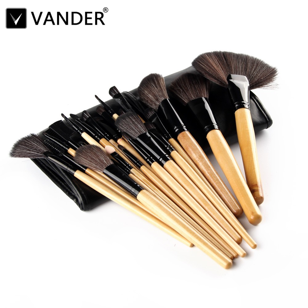 VANDER Pro Brown 24pcs Makeup Brush Set Professional Cosmetic Kits Brushes Foundation Powder Blusher Eyeliner maquiagem w/ Bag polaroid sunglasses men metal polarized male sun glasses for men driving sunglasses famous brand designer masculine sun glasses